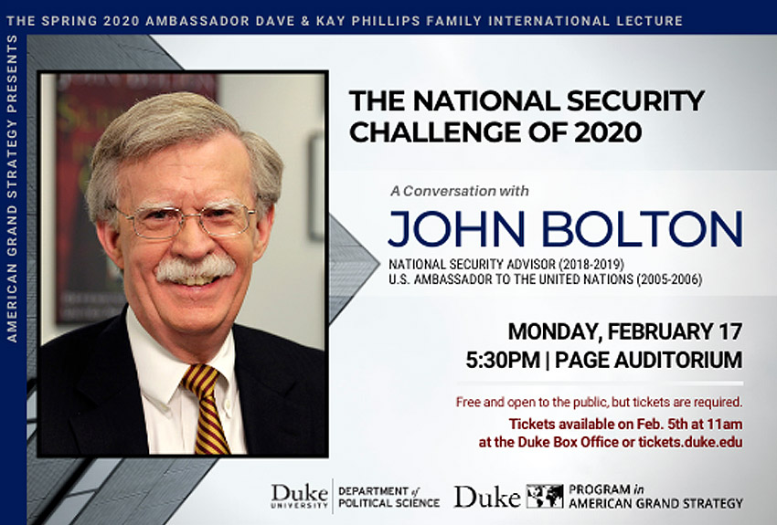 John Bolton: The National Security Challenge of 2020
