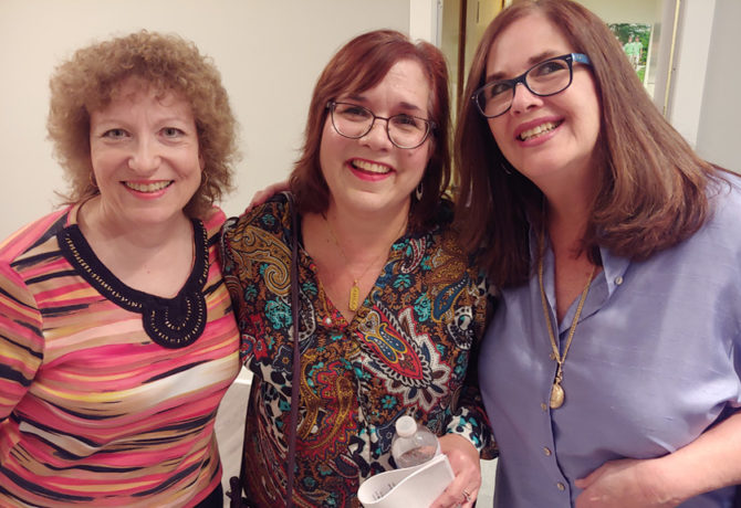 Board Members Amy (Left) and Deborah Friedman, on either side of Miriam Elman, who's an internationally known advocate for Israel and the Jewish people.